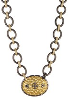 Freida Rothman Rhodium & 14K Gold Plated Sterling Silver Hammered CZ Pave Clover Shield Necklace
