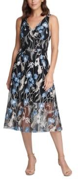 Vince Camuto Floral-Embroidered V-Neck Dress