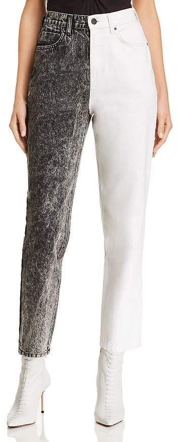 Alexander Wang Bluff High-Waisted Classic Jeans in Marble Gray/Ivory