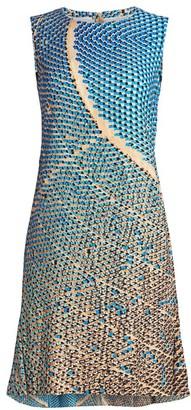 Akris Punto Solar-Print Sleeveless Flounce-Hem Dress