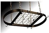 Rogar Oval Hanging Pot Rack In White and Brass - With Grid