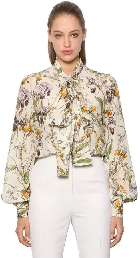Alexander McQueen Wild Iris Silk Crepe De Chine Shirt
