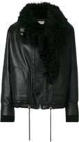 Saint Laurent fur-trim jacket - women - Cotton/Lamb Skin/Sheep Skin/Shearling/Wool - 40