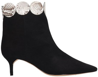Alexandre Birman Ellie Kitten Low Heels Ankle Boots In Black Suede