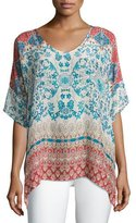 Johnny Was Bay Floral & Paisley Printed Georgette Poncho, Plus Size