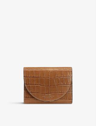 Smythson Mara Moon croc-embossed leather coin purse