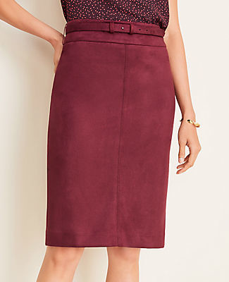 Ann Taylor Faux Suede Belted Pencil Skirt
