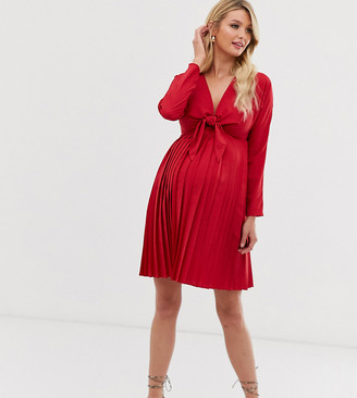 Asos DESIGN Maternity pleated tie front mini dress-Red