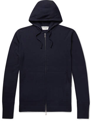 Officine Generale Virgin Wool Zip-Up Hoodie - Men - Blue