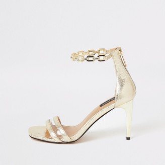 River Island Gold chain ankle wide fit heeled sandals