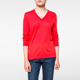 Paul Smith Women's Coral Merino Wool V-Neck Sweater