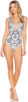 Camilla Plunging Cut Out One Piece in Black & White. - size XS (also in )