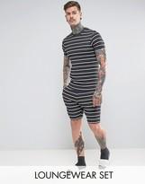 Asos Pyjama Set Muscle T-Shirt & Short Shorts In Stripe
