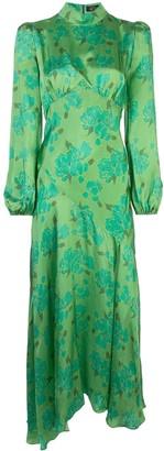 De La Vali floral-print high-neck satin dress