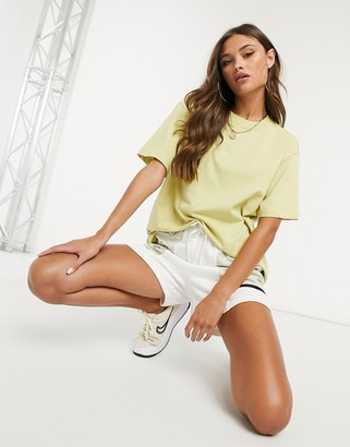 Nike central swoosh oversized boyfriend t-shirt in olive