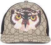 Gucci Owl print GG Supreme baseball hat