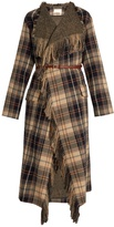 Chloé Fringed wool and cotton-blend tartan coat