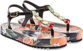 Dolce & Gabbana Embellished Printed Leather Sandals