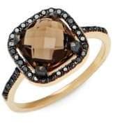 Suzanne Kalan Black Diamond, Smokey Quartz and 14K Yellow Gold Ring