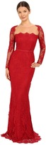 Marchesa Notte - Long Sleeve Lace Gown with Illusion Neckline Women's Dress