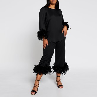 River Island Womens Plus Black feather hem trousers