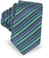 Laura Biagiotti Navy Blue and Green Diagonal Stripe Woven Silk Extra-Narrow Tie