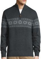 ST. JOHN'S BAY St. John's Bay Long-Sleeve Quarter-Zip Novelty Sweater