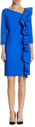 Teri Jon By Rickie Freeman Asymmetrical Ruffled Sheath Dress