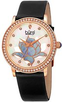 Burgi Women's Rose-Tone Case with Genuine Diamond Accented Butterfly Design Mother-of-Pearl Dial on White Leather Strap Watch BUR159BKR