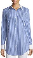 Michael Kors Contrast-Collar Button-Front Striped Long Shirt, Cobalt/White