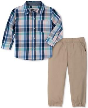 Kids Headquarters Baby Boys 2-Pc. Yarn-Dyed Plaid Shirt & Twill Jogger Pants Set