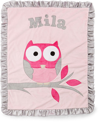 Boogie Baby Personalized It's a Hoot Plush Blanket, Pink
