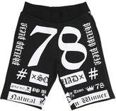 Philipp Plein Junior Logo Printed Cotton Sweat Shorts