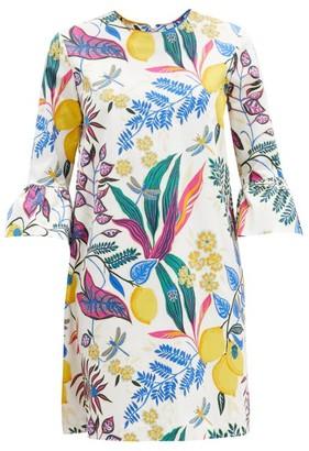 La DoubleJ 24/7 Fluted-sleeve Botanical-print Cotton Dress - White Multi