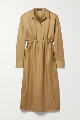 Theory Gathered Satin-twill Shirt Dress - Camel