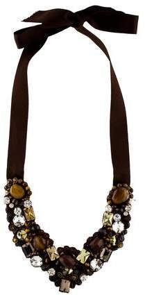 Ranjana Khan Agate, Tiger's Eye Quartz & Crystal Bib Necklace