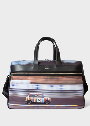 Paul Smith Men's Multi-Coloured 'Racing Mini' Print Canvas Weekend Bag