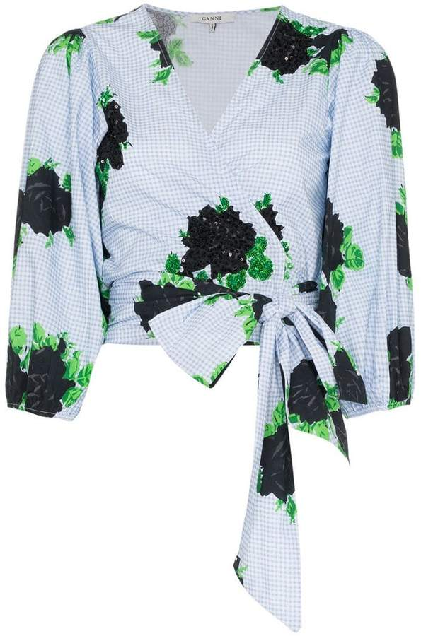 Ganni tie waist blouse