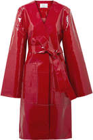 SOLACE London Safina Belted Patent-leather Coat - Red