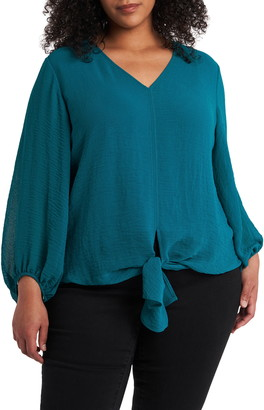 Vince Camuto Tie Front Rumpled Chiffon Blouse