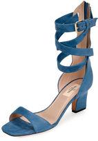 Valentino Garavani Plum Suede Back-Zip Ankle-Wrap Sandal