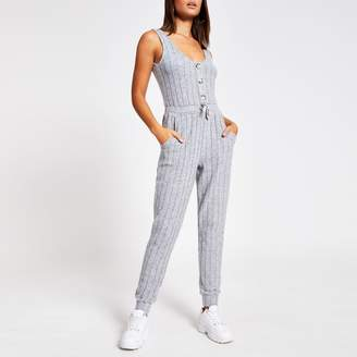 River Island Womens Grey sleeveless ribbed pyjama jumpsuit