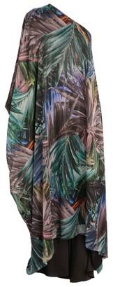 Halpern Patterned One-Shoulder Dress