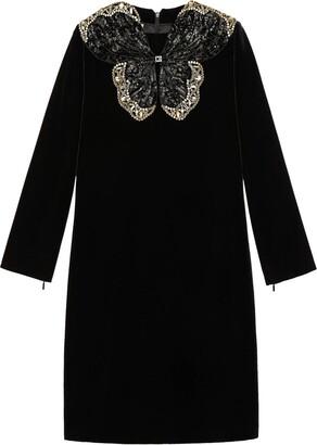 Gucci Sequin Butterfly Short Velvet Dress