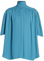 Balenciaga Short Sleeve Scarf Blouse
