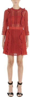 Self-Portrait Ruffle Trim Lace Dress