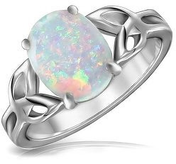 Bling Jewelry BFF Triquetra Celtic Knot Oval White Created Opal Ring Sterling Silver