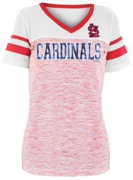 5th & Ocean Women's St. Louis Cardinals Space Dye Sequin T-Shirt