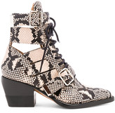 Chloé Rylee Python Print Leather Lace Up Buckle Boots in Eternal Grey | FWRD
