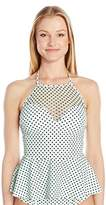 Betsey Johnson Womens Swimwear Duo Dot Halterkini High Neck Peplum Swimsuit Tankini Top
